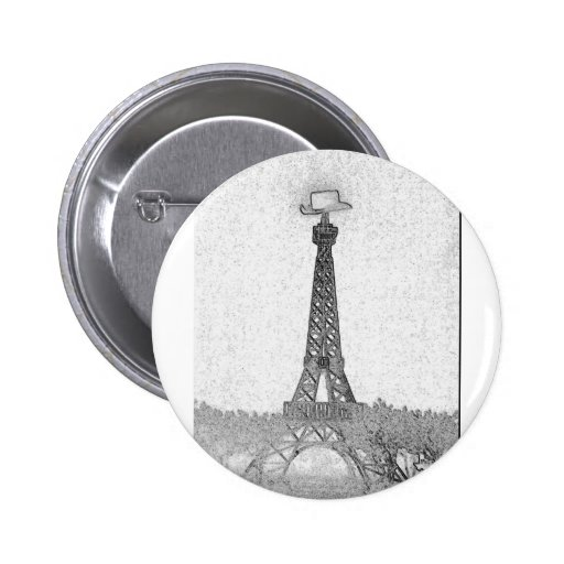Paris, Texas Eiffel Tower Drawing Button