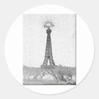 Paris, Texas Eiffel Tower Drawing Classic Round Sticker
