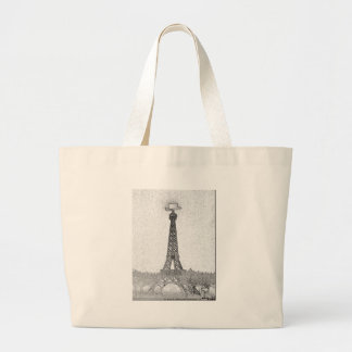 Paris, Texas Eiffel Tower Drawing Large Tote Bag