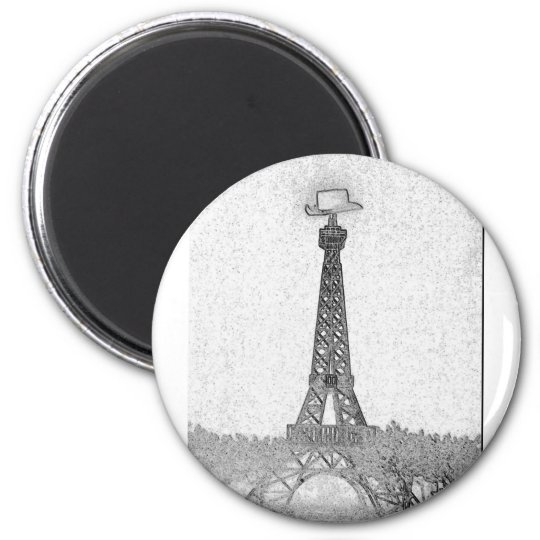 Paris, Texas Eiffel Tower Drawing Magnet