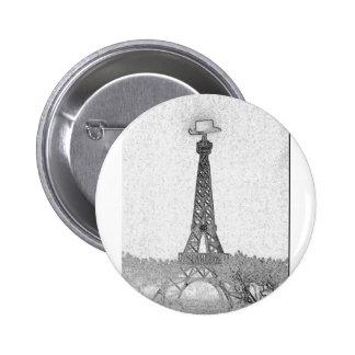 Paris, Texas Eiffel Tower Drawing Pinback Button