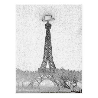 Paris Texas Eiffel Tower Drawing Post Card