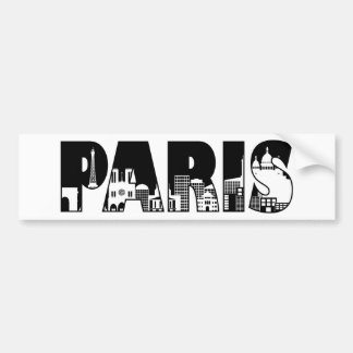 Paris Text Outline with Skyline Illustration Bumper Sticker