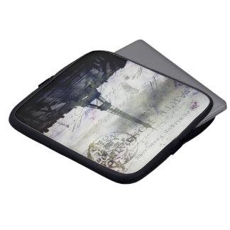 París texturizada en bolso del ordenador portátil  manga computadora