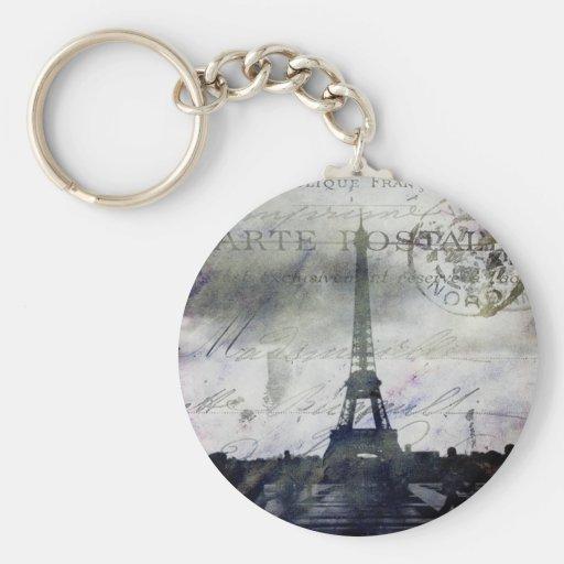 París texturizada en lavanda llavero redondo tipo pin
