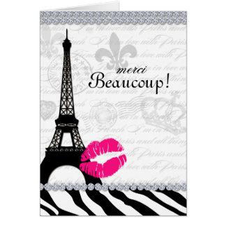 Paris Thank You Card Eiffel Tower Jewelry Zebra