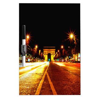 paris the arc de triomphe monument night dry erase whiteboard