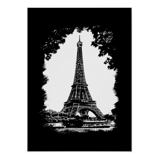 Paris, The Eiffel Tower Illustration poster