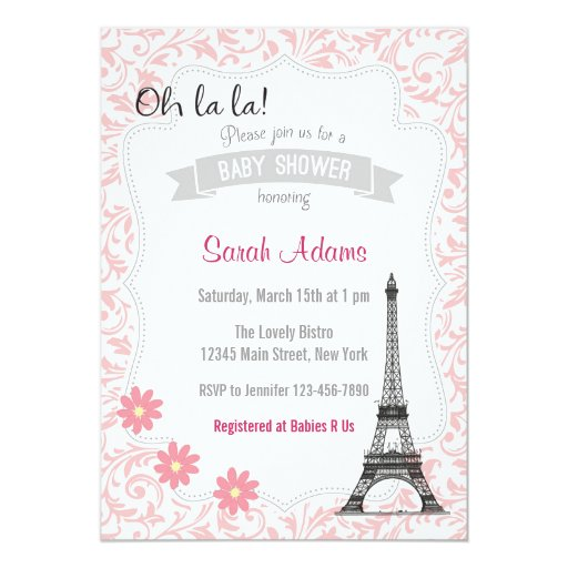 paris theme baby shower invitation zazzle