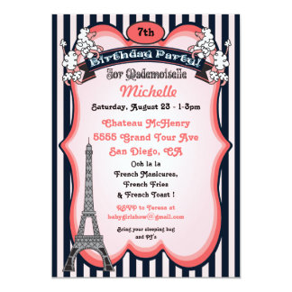 Paris theme Birthday Party Invitations