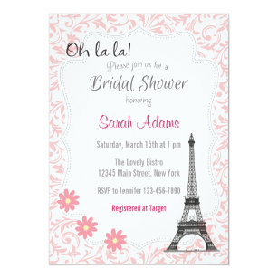 paris theme bridal shower invitation