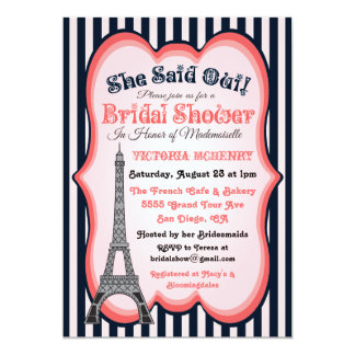 "Paris theme Bridal Shower Invitations 5"" X 7"" Invitation Card"