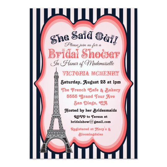 paris theme bridal shower invitations