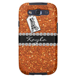 Paris Theme CORAL  BLING  SAMSUNG 3 cover Samsung Galaxy S3 Covers
