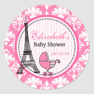 Paris Theme Party Stickers for Baby Shower