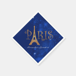 Paris Theme Sweet 16 Custom Birthday Napkins