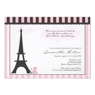 Paris Themed Birthday Invitation
