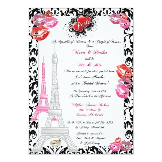Paris Themed Bridal Invitation