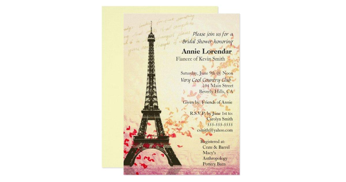 Paris Themed Bridal Shower Invitation Template Zazzle