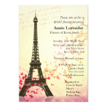 "Paris Themed Bridal Shower Invitation template 4.5"" X 6.25"" Invitation Card"