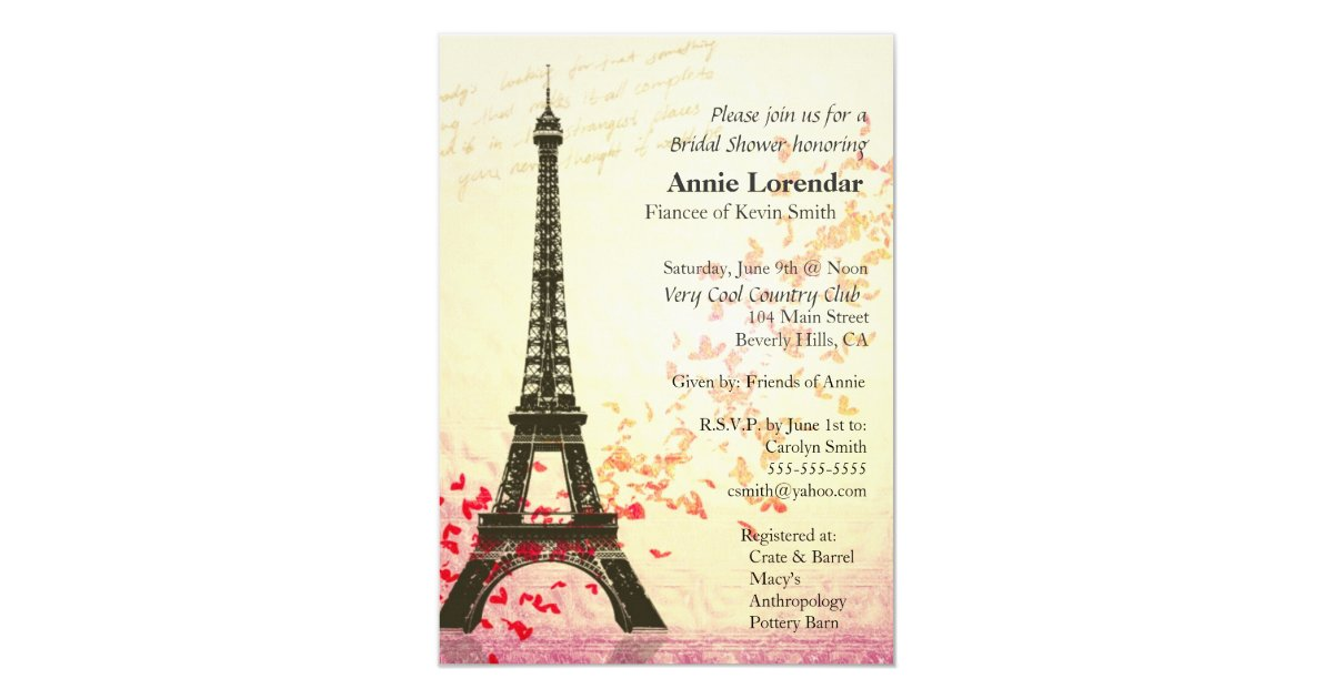 Paris Themed Bridal Shower Invitation Template Zazzle Com