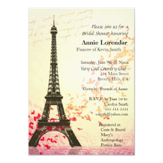 "Paris Themed Bridal Shower Invitation template 4.5"" X 6.25"" Invitation Card"