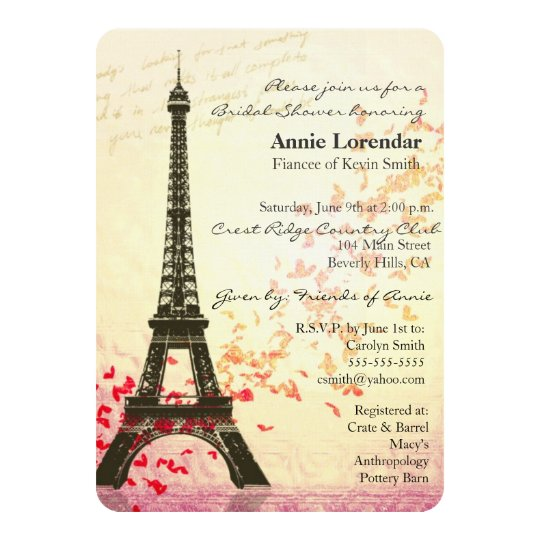 Paris Themed Bridal Shower Invitation Template Zazzle Com