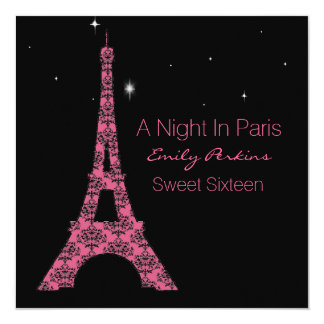 Paris Themed Custom Sweet Sixteen Invitation