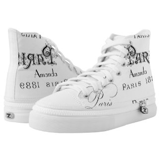 Paris Themed Vintage Personalized High-Top Sneakers