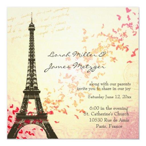Paris Themed Wedding Invitation