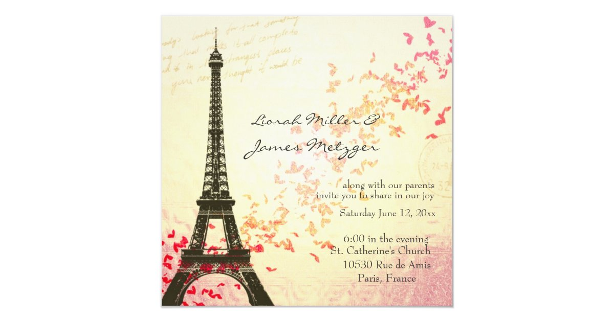 Paris Themed Wedding Invitation Zazzle Com