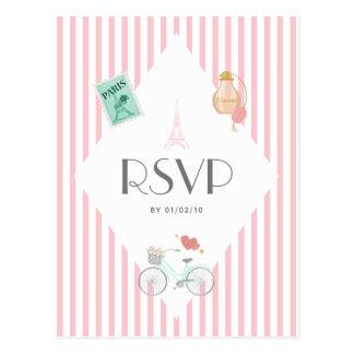 Paris Themed Wedding RSVP Postcard