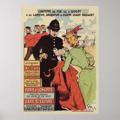 Paris to London vintage railways advertisement