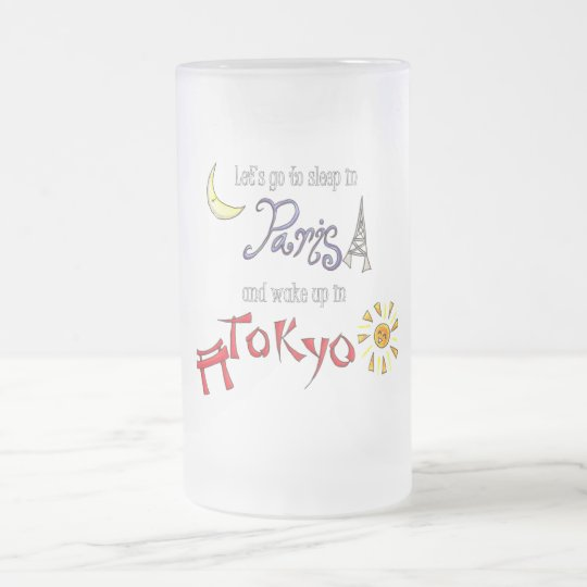 Paris Tokyo Frosted Glass Beer Mug