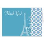 París, torre Eiffel, lunares de los azules cielos Felicitacion