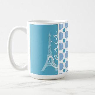 París torre Eiffel lunares de los azules cielos Taza De Café