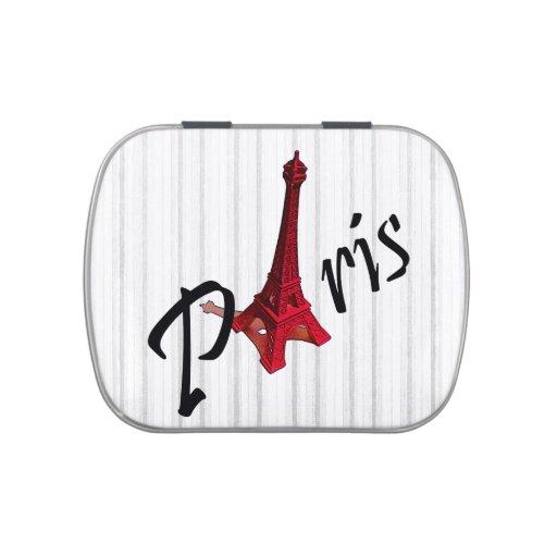 París - torre Eiffel roja Jarrones De Caramelos