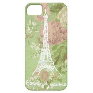 París, torre floral de Eifel del vintage del Funda Para iPhone 5 Barely There