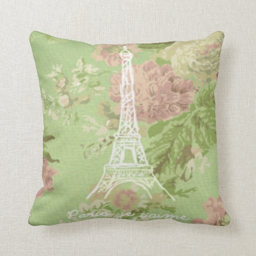 París, torre floral de Eifel del vintage del t'aim Cojines
