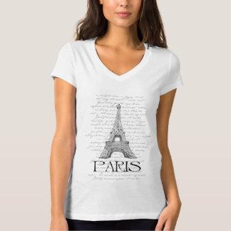 """Paris """"Tour Eiffel"""" Digital Typography Collage T-Shirt"""