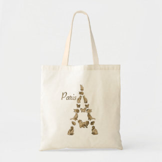 Paris Tower of Cats Budget Tote Bag
