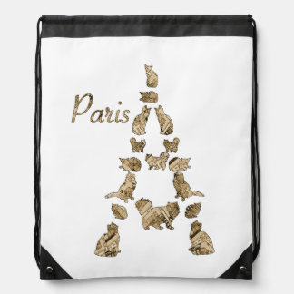 Paris Tower of Cats Drawstring Bag