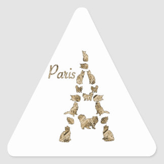 Paris Tower of Cats Triangle Sticker