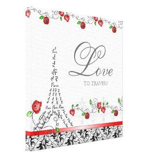 Paris Travel Canvas Print Red Roses