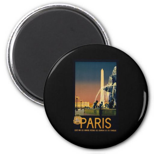 Paris travel poster for French railway networks Fridge Magnet