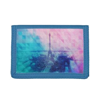 Paris triangle pattern tri-fold wallets