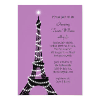 """Paris Twinkles Bridal Shower Invitation (purple) 5"""" X 7"""" Invitation Card"""