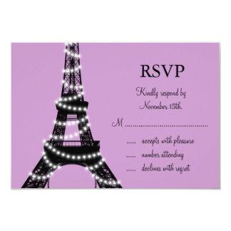 Paris Twinkles RSVP (purple) 3.5x5 Paper Invitation Card