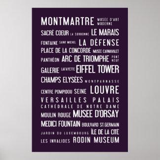 Paris typographic poster, aubergine poster