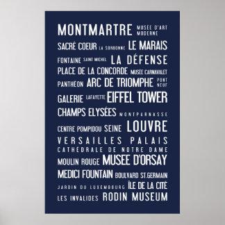 Paris typographic poster, blue poster